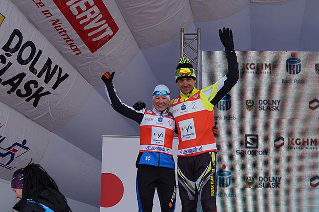 Novak (CZE) and Mannima (EST) winners of Bieg Piastow (POL) and current leaders of the overall FISMC