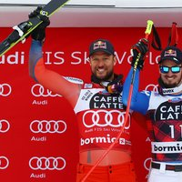 The podium: Dominik Paris, Aksel Lund Svindal, Kjetil Jansrud - Credits: Pentaphoto